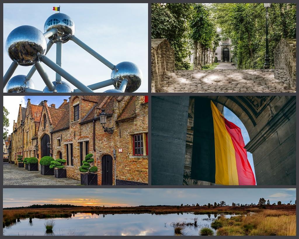 Collage met foto's van typisch Belgische gebouwen en landschappen.