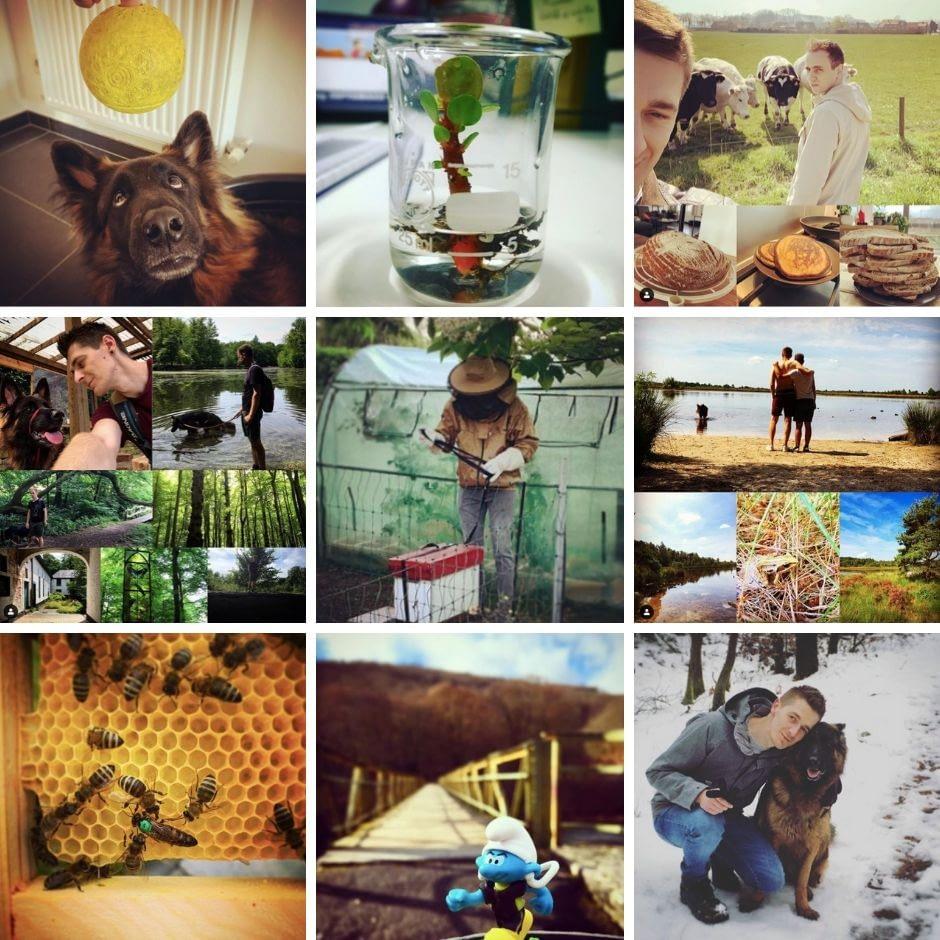 Collage van posts van het Instagramaccount van Kevin.