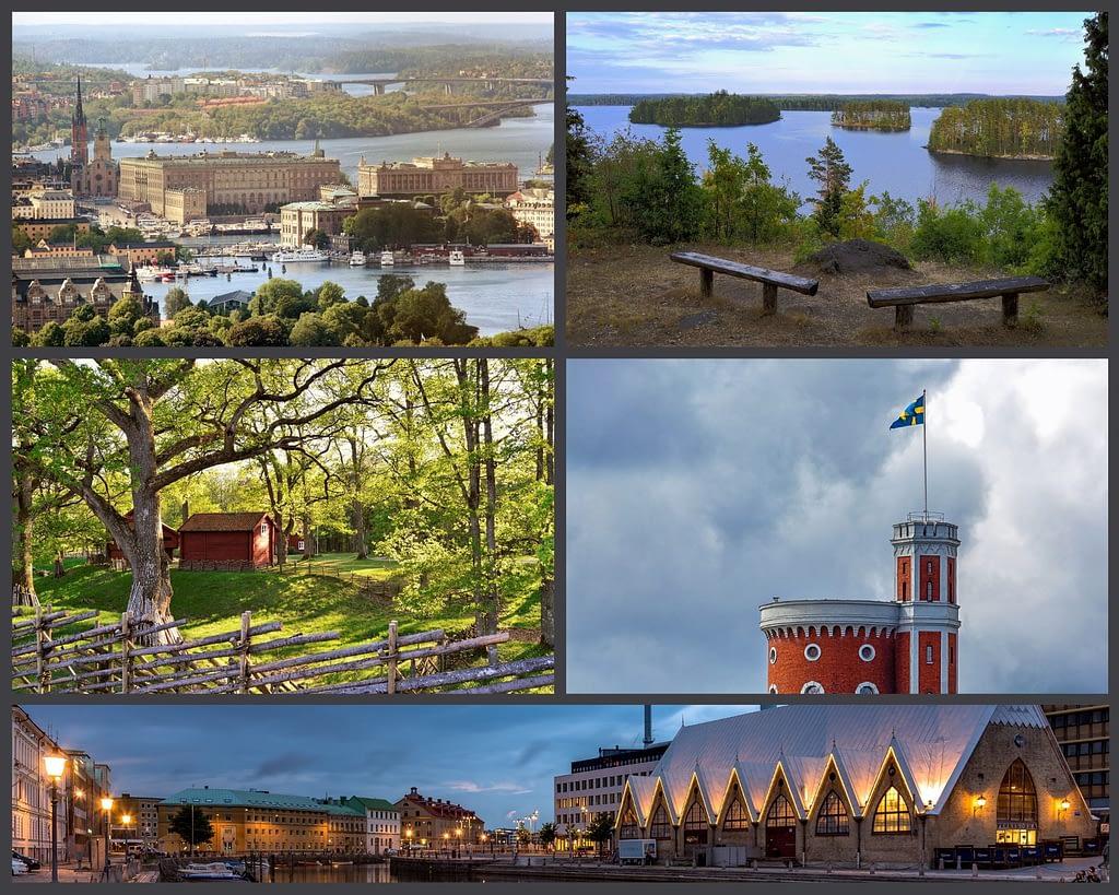 Collage met foto's van typisch Zweedse gebouwen en landschappen.