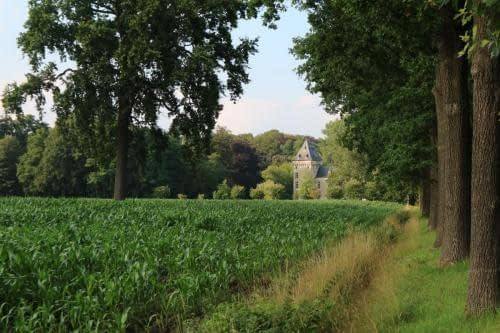 Zicht op het kasteel van Westmalle